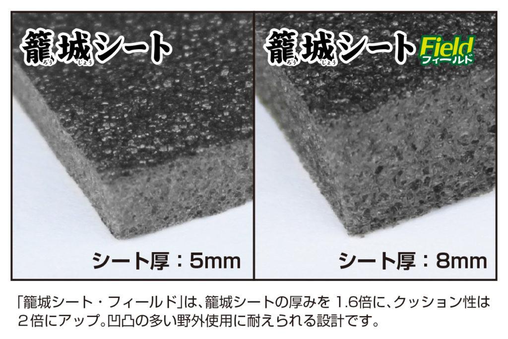 「籠城シート・フィールド」は、籠城シートの厚みを1.6倍に、クッション性は2倍にアップ。凹凸の多い野外使用に耐えられる設計です。